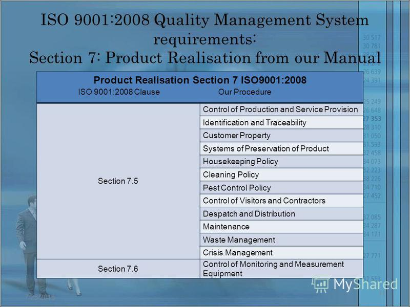 ISO 9001:2008 Quality Management System requirements: Section 7: Product Realisation from our Manual Product Realisation Section 7 ISO9001:2008 Section 7.5 Control of Production and Service Provision Identification and Traceability Customer Property