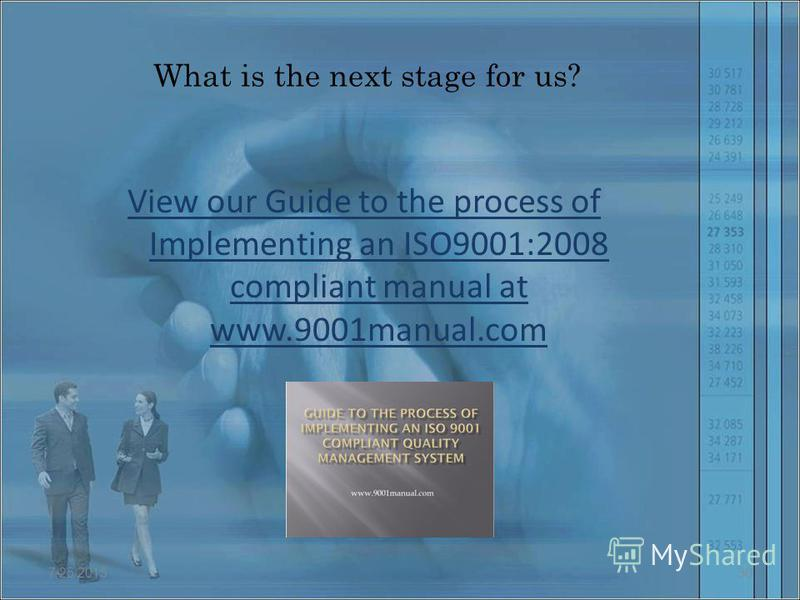 What is the next stage for us? View our Guide to the process of Implementing an ISO9001:2008 compliant manual at www.9001manual.com 7/25/201530