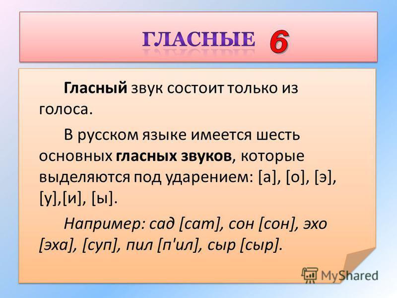 Гласный звук состоит только из голоса. В русском языке имеется шесть основных гласных звуков, которые выделяются под ударением: [а], [о], [э], [у],[и], [ы]. Например: сад [сад], сон [сон], эхо [эха], [суп], пил [п'ил], сыр [сыр].