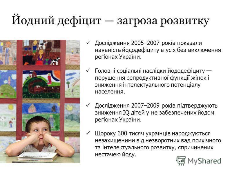 Йодний дефіцит загроза розвитку Дослідження 2005–2007 років показали наявність йододефіциту в усіх без виключення регіонах України. Головні соціальні наслідки йододефіциту порушення репродуктивної функції жінок і зниження інтелектуального потенціалу