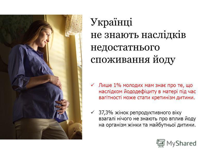 Українці не знають наслідків недостатнього споживання йоду Лише 1% молодих мам знає про те, що наслідком йододефіциту в матері під час вагітності може стати кретинізм дитини. 37,3% жінок репродуктивного віку взагалі нічого не знають про вплив йоду на