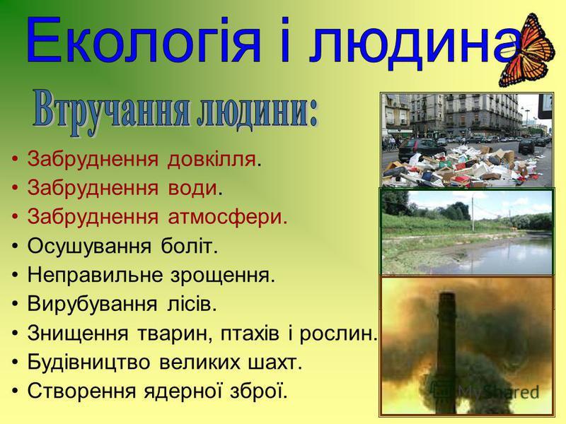Забруднення довкілля. Забруднення води. Забруднення атмосфери. Осушування боліт. Неправильне зрощення. Вирубування лісів. Знищення тварин, птахів і рослин. Будівництво великих шахт. Створення ядерної зброї.
