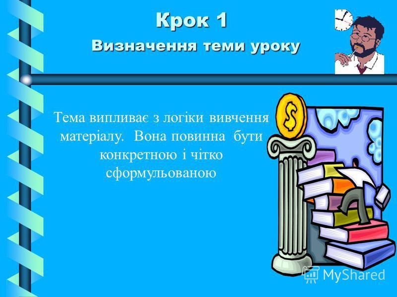 Крок 1 Визначення теми уроку Тема випливає з логіки вивчення матеріалу. Вона повинна бути конкретною і чітко сформульованою