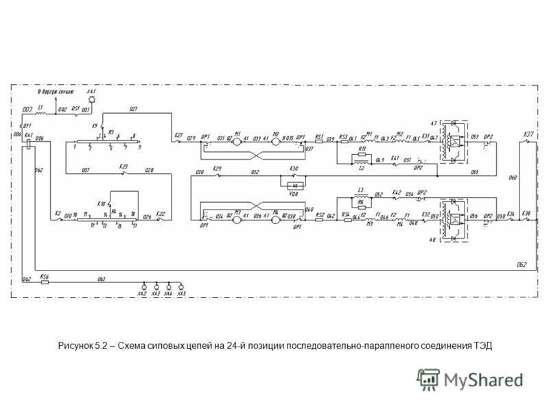 Рисунок 5.2 – Схема силовых цепей на 24-й позиции последовательно-параллельного соединения ТЭД