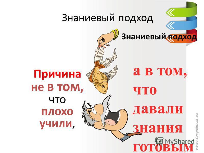 Знаниевый подход Причина не в том, что плохо учили, а в том, что давали знания готовым и