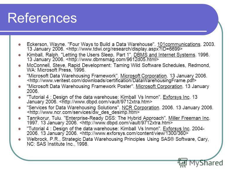 References Eckerson, Wayne.