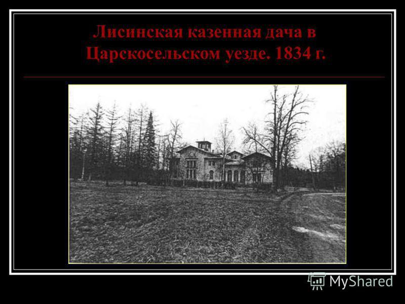 Лисинская казенная дача в Царскосельском уезде. 1834 г.