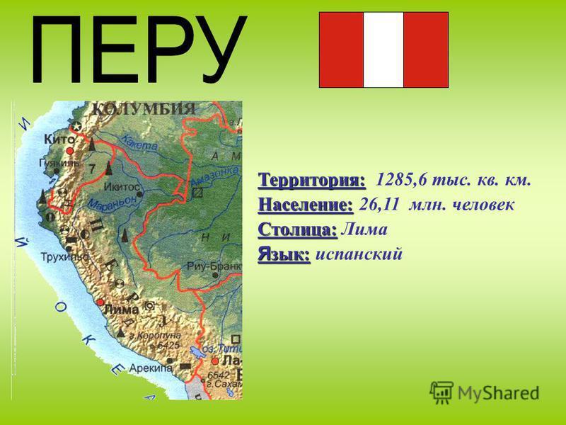 Территория: Территория: 1285,6 тыс. кв. км. Население: Население: 26,11 млн. человек Столица: Столица: Лима Я зык: Я зык: испанский