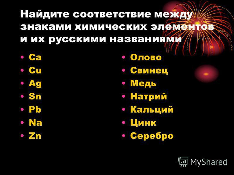 Найдите соответствие между знаками химических элементов и их русскими названиями Ca Cu Ag Sn Pb Na Zn Олово Свинец Медь Натрий Кальций Цинк Серебро