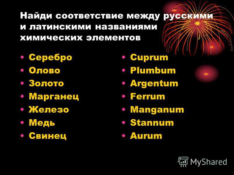 Найди соответствие между русскими и латинскими названиями химических элементов Серебро Олово Золото Марганец Железо Медь Свинец Cuprum Plumbum Argentum Ferrum Manganum Stannum Aurum