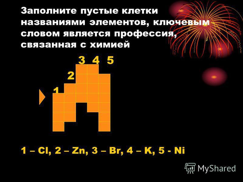 Заполните пустые клетки названиями элементов, ключевым словом является профессия, связанная с химией 3 4 5 2 1 1 – Cl, 2 – Zn, 3 – Br, 4 – K, 5 - Ni