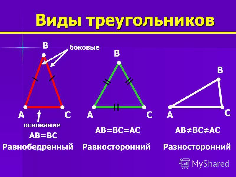 BC Вершина Сторона 1 2 3 4 Внутренний угол Внешний угол Основные элементы треугольника A