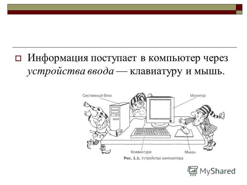 Информация поступает в компьютер через устройства ввода клавиатуру и мышь.