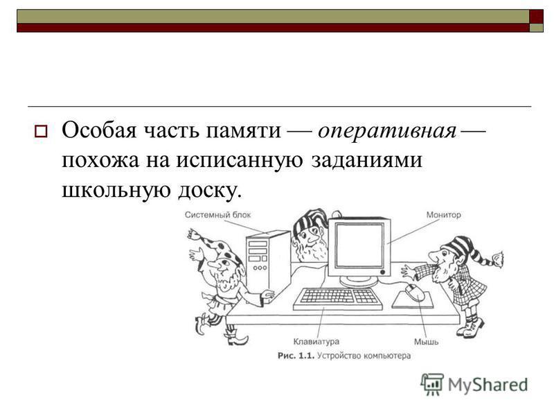 Особая часть памяти оперативная похожа на исписанную заданиями школьную доску.