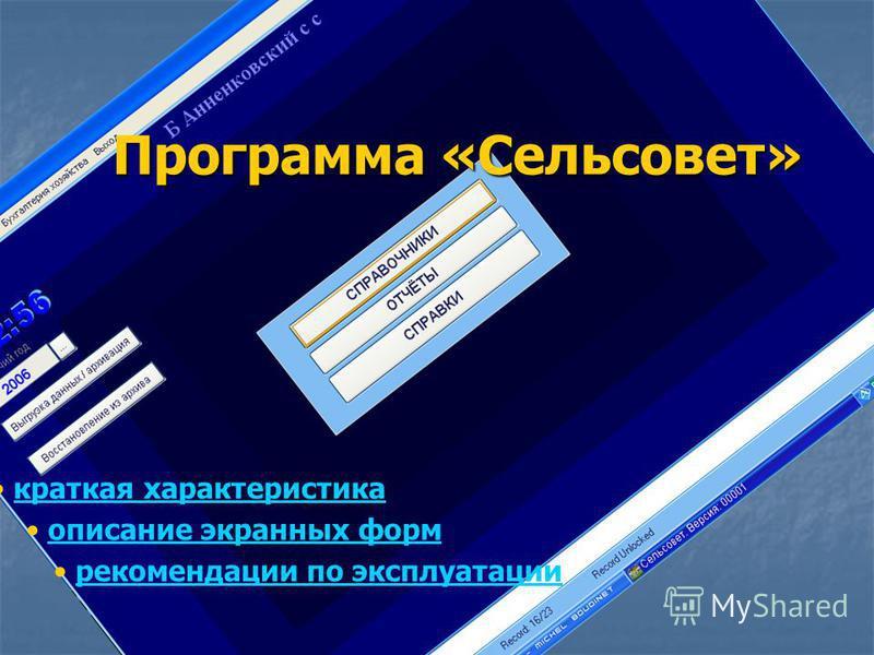 Программа «Сельсовет» краткая характеристика описание экранных форм рекомендации по эксплуатации