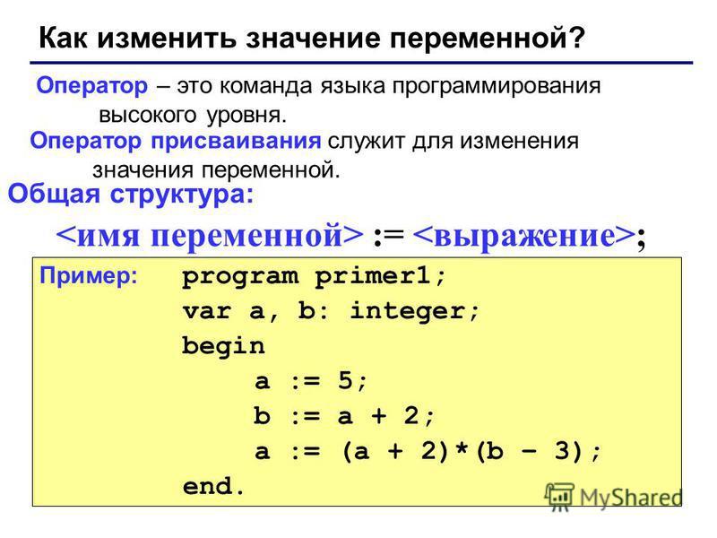 Как изменить значение переменной? Оператор – это команда языка программирования высокого уровня. Оператор присваивания служит для изменения значения переменной. Пример: program primer1; var a, b: integer; begin a := 5; b := a + 2; a := (a + 2)*(b – 3