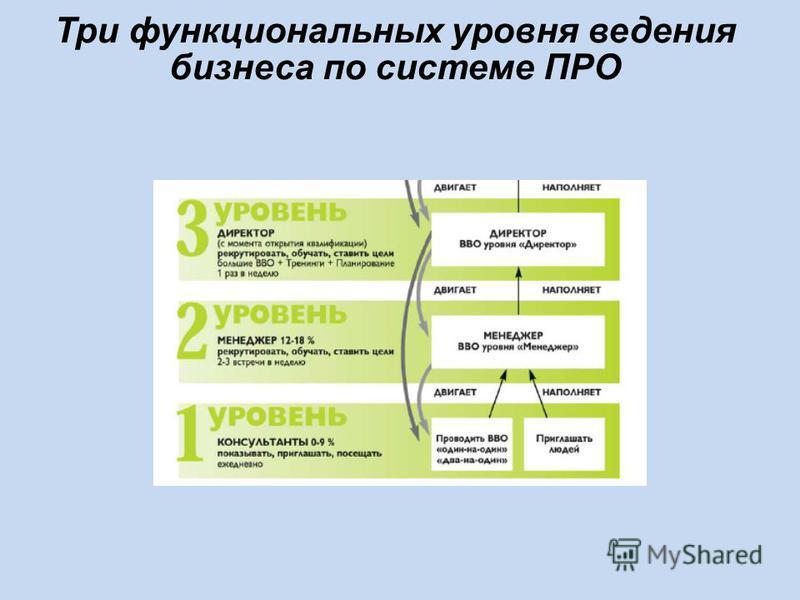 Три функциональных уровня ведения бизнеса по системе ПРО