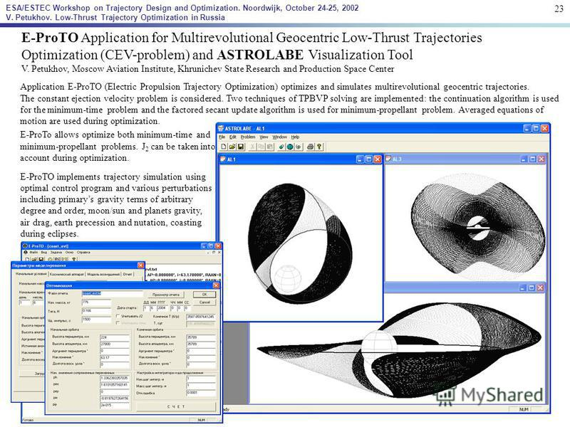 E-ProTO Application for Multirevolutional Geocentric Low-Thrust Trajectories Optimization (CEV-problem) and ASTROLABE Visualization Tool V. Petukhov, Moscow Aviation Institute, Khrunichev State Research and Production Space Center Application E-ProTO
