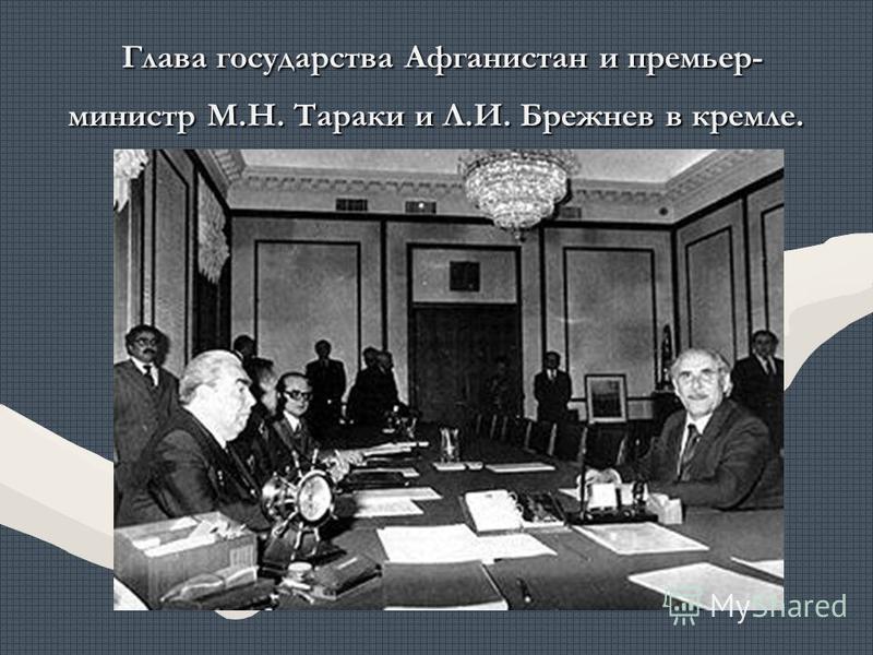 Глава государства Афганистан и премьер- министр М.Н. Тараки и Л.И. Брежнев в кремле. Глава государства Афганистан и премьер- министр М.Н. Тараки и Л.И. Брежнев в кремле.