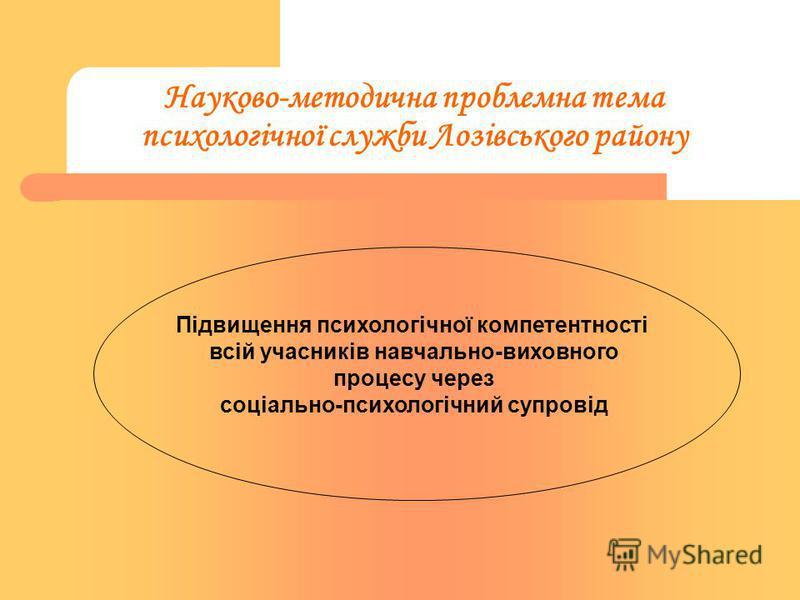 Науково-методична проблемна тема психологічної служби Лозівського району Підвищення психологічної компетентності всій учасників навчально-виховного процесу через соціально-психологічний супровід