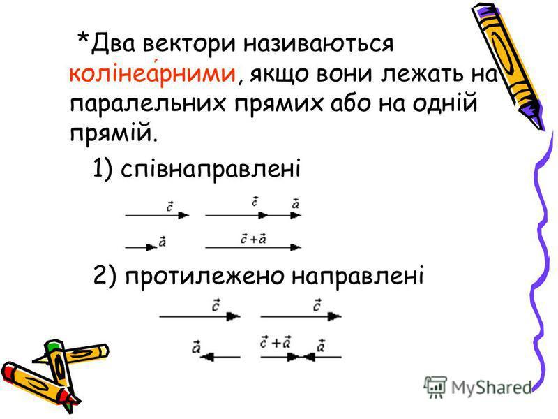 *Два вектори називаються колінеарними, якщо вони лежать на паралельних прямих або на одній прямій. 1) співнаправлені 2) протилежено направлені