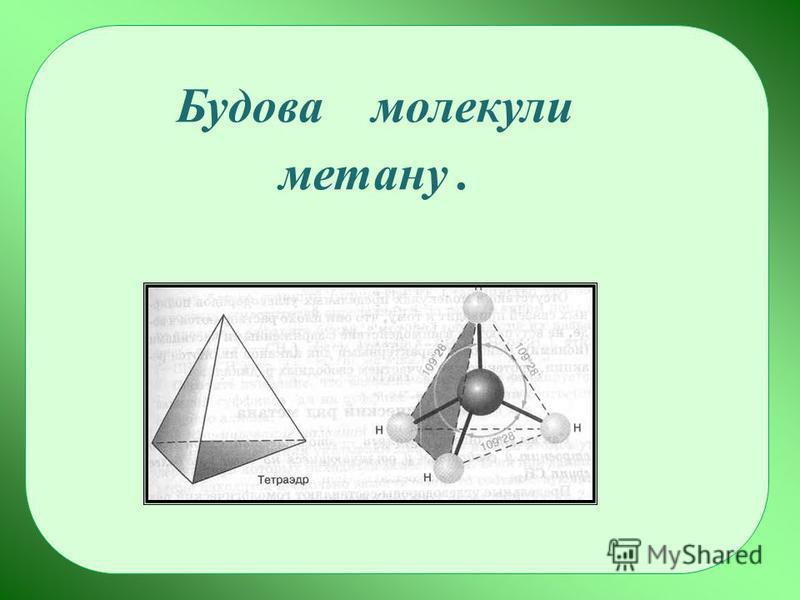 Будова молекули метану.