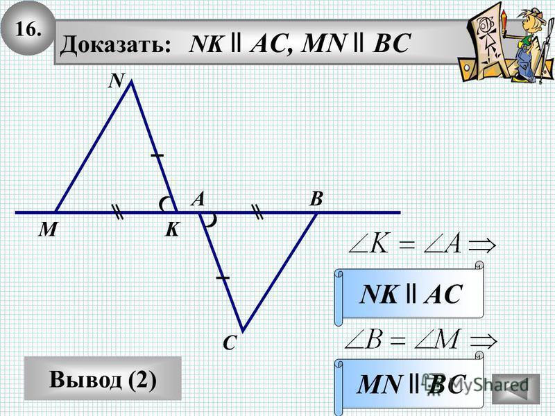 16. Вывод (2) Доказать: NK ll AC, MN ll BC MN ll BC N ВА С MK NK ll AC