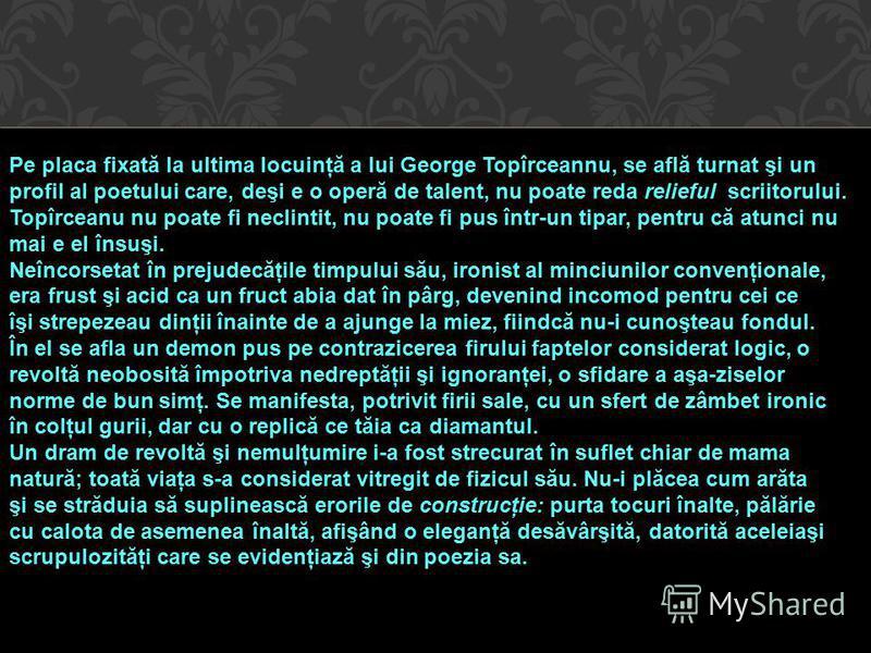 Pe placa fixată la ultima locuinţă a lui George Topîrceannu, se află turnat şi un profil al poetului care, deşi e o operă de talent, nu poate reda relieful scriitorului. Topîrceanu nu poate fi neclintit, nu poate fi pus într-un tipar, pentru că atunc