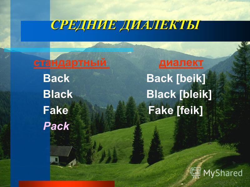 СРЕДНИЕ ДИАЛЕКТЫ стандартный диалект Back Back [beik] Black Black [bleik] Fake Fake [feik] Pack