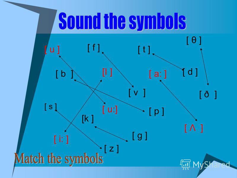 [ u ] [ s ] [ p ] [ z ] [ t ] [ d ] [ b ] [ u:] [ f ] [ v ] [k ] [ g ] [ ð ] [ θ ] [ Λ ] [ a: ] [ i: ] [Ι ]