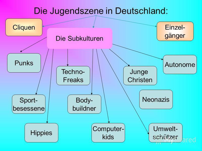 Die Jugendszene in Deutschland: Neonazis Cliquen Einzel- gänger Hippies Punks Computer- kids Body- buildner Techno- Freaks Umwelt- schützer Sport- besessene Autonome Junge Christen Die Subkulturen
