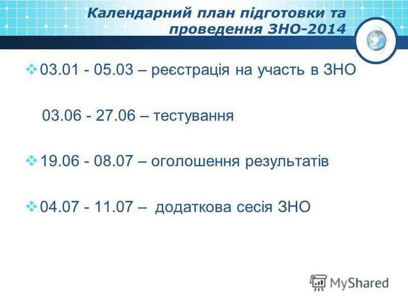 Календарний план підготовки та проведення ЗНО-2014 03.01 - 05.03 – реєстрація на участь в ЗНО 03.06 - 27.06 – тестування 19.06 - 08.07 – оголошення результатів 04.07 - 11.07 – додаткова сесія ЗНО