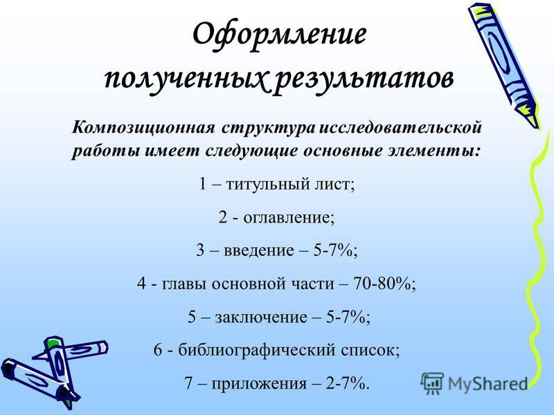 Оформление полученных результатов Композиционная структура исследовательской работы имеет следующие основные элементы: 1 – титульный лист; 2 - оглавление; 3 – введение – 5-7%; 4 - главы основной части – 70-80%; 5 – заключение – 5-7%; 6 - библиографич