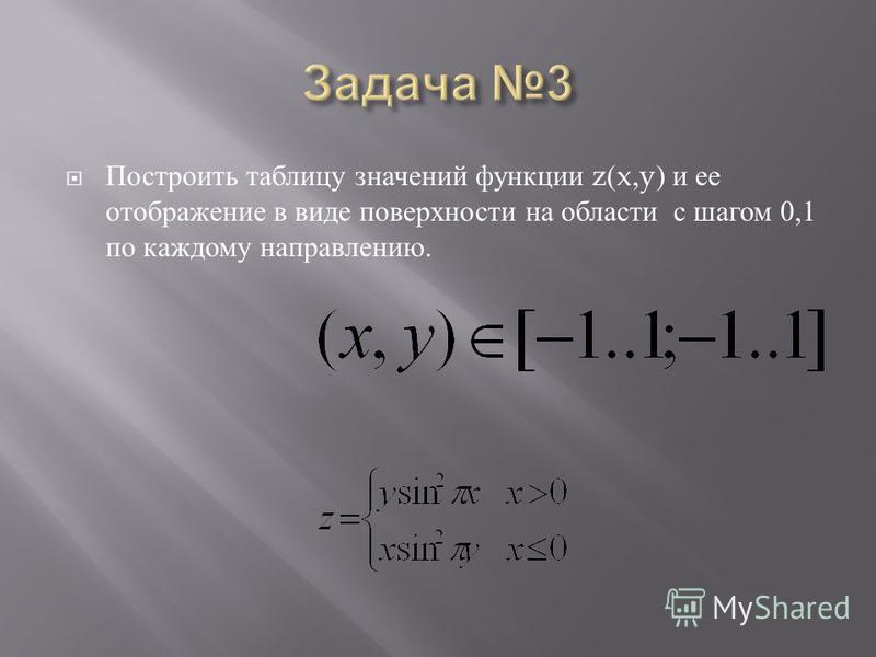 Построить таблицу значений функции z(x,y) и е е отображение в в иде поверхности н а области с шагом 0,1 по каждому направлению.