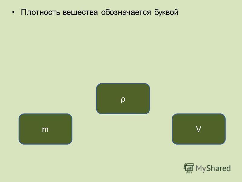 Плотность вещества обозначается буквой ρ mV