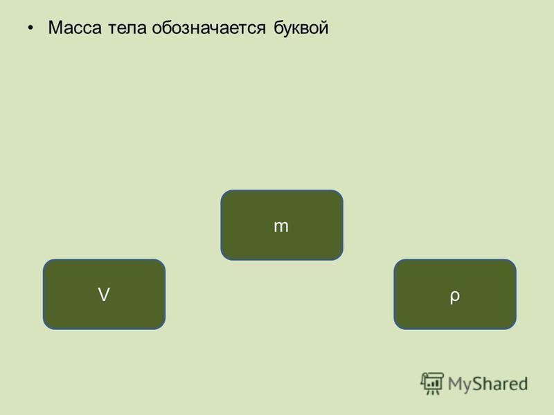 Масса тела обозначается буквой m Vρ