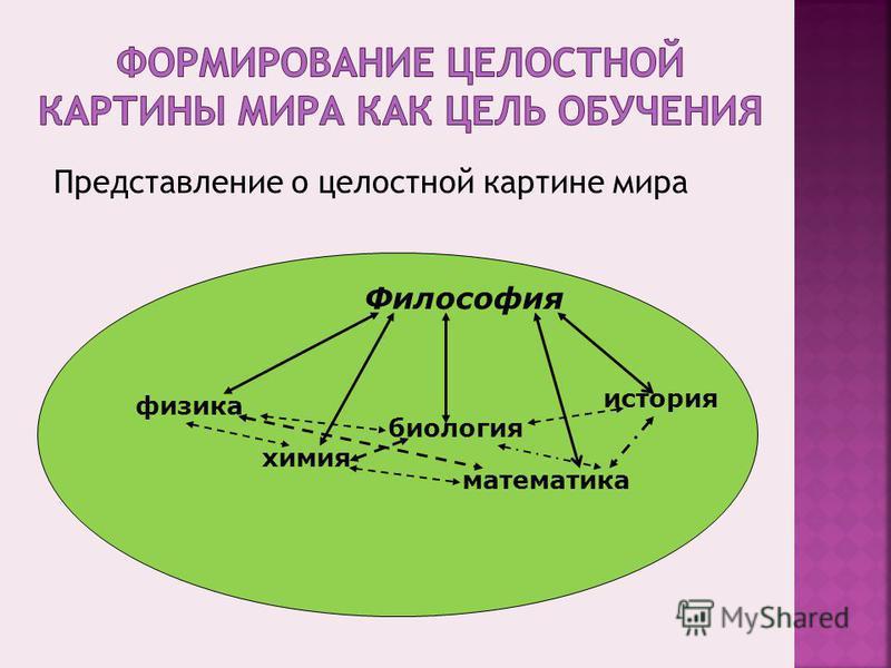 Представление о целостной картине мира физика химия биология математика история Философия