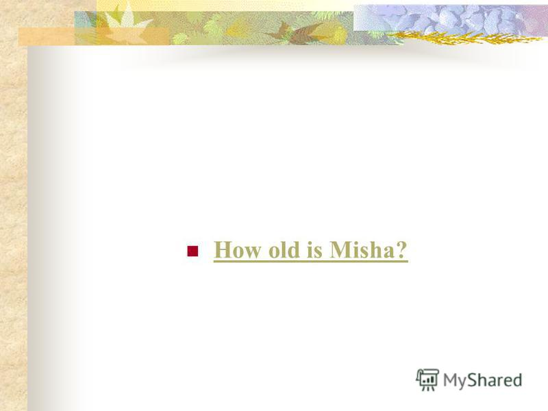 How old is Misha?