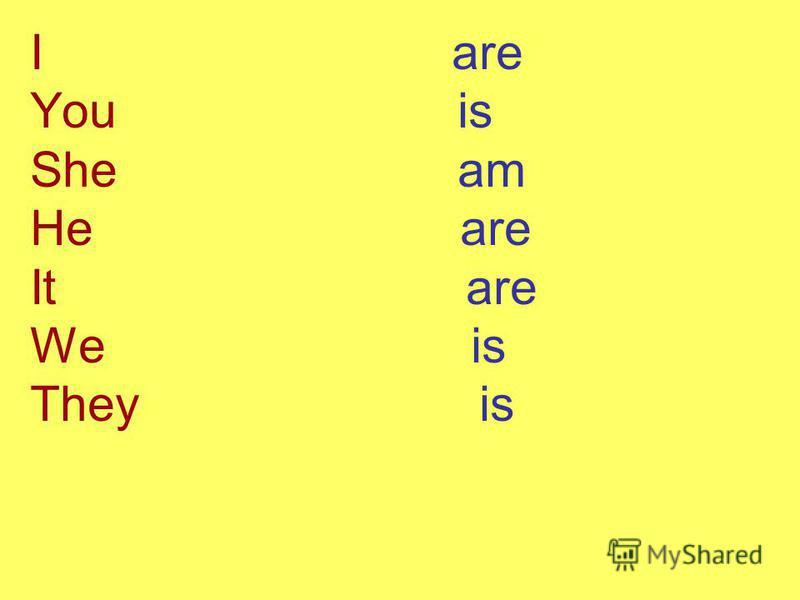 I are You is She am He are It are We is They is