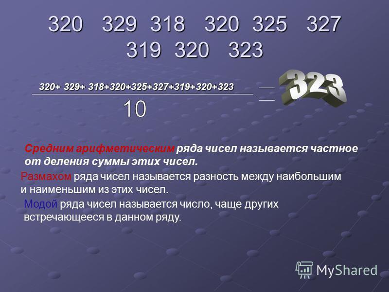 320 329 318 320 325 327 319 320 323 320+ 329+ 318+320+325+327+319+320+323 Средним арифметическим ряда чисел называется частное от деления суммы этих чисел. Размахом ряда чисел называется разность между наибольшим и наименьшим из этих чисел. Модой ряд