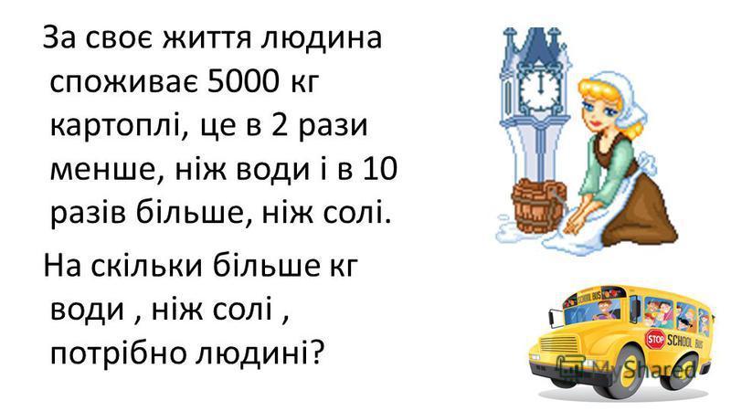 За своє життя людина споживає 5000 кг картоплі, це в 2 рази менше, ніж води і в 10 разів більше, ніж солі. На скільки більше кг води, ніж солі, потрібно людині?