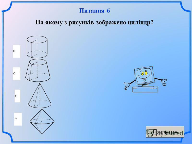 Питання 6 На якому з рисунків зображено циліндр?