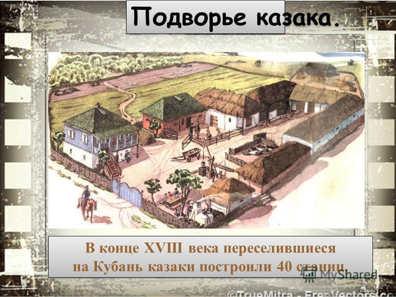 Подворье казака. В конце XVIII века переселившиеся на Кубань казаки построили 40 станиц. В конце XVIII века переселившиеся на Кубань казаки построили 40 станиц.