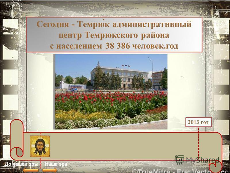 Сегодня - Темрю́к административный центр Темрюкского района с населением 38 386 человек.год До нашей эры Наша эра 2013 год