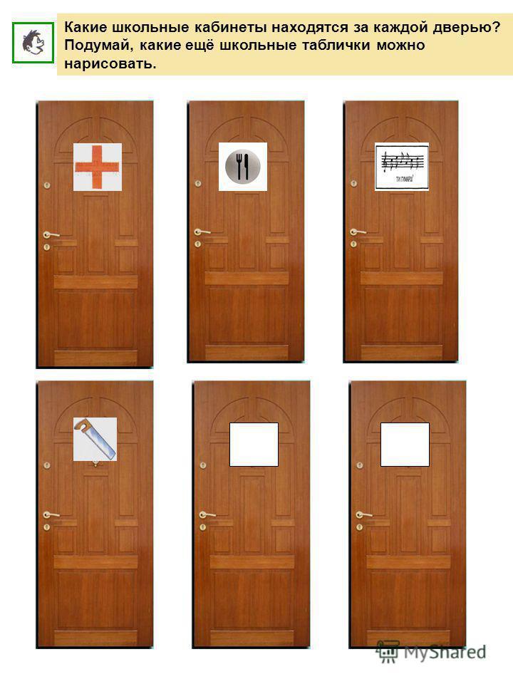 Какие школьные кабинеты находятся за каждой дверью? Подумай, какие ещё школьные таблички можно нарисовать.