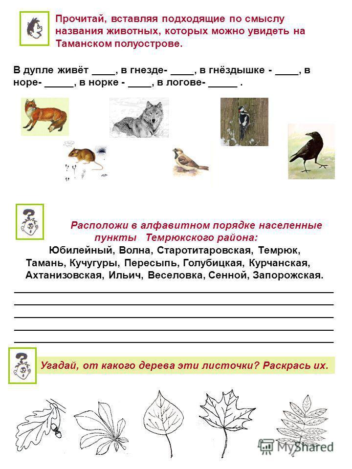 Прочитай, вставляя подходящие по смыслу названия животных, которых можно увидеть на Таманском полуострове. В дупле живёт ____, в гнезде- ____, в гнёздышке - ____, в норе- _____, в норке - ____, в логове- _____. Расположи в алфавитном порядке населенн