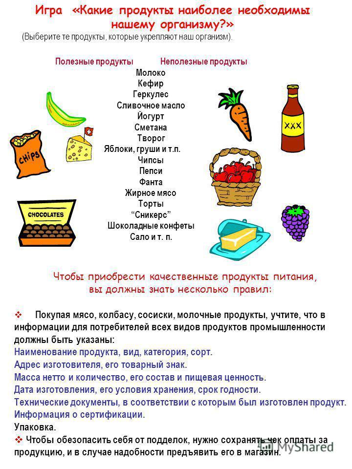 Игра «Какие продукты наиболее необходимы нашему организму?» (Выберите те продукты, которые укрепляют наш организм). Полезные продукты Неполезные продукты Молоко Кефир Геркулес Сливочное масло Йогурт Сметана Творог Яблоки, груши и т.п. Чипсы Пепси Фан