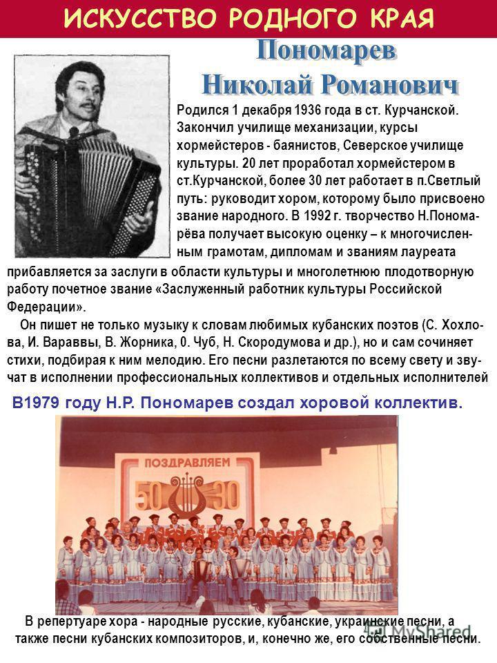 Родился 1 декабря 1936 года в ст. Курчанской. Закончил училище механизации, курсы хормейстеров - баянистов, Северское училище культуры. 20 лет проработал хормейстером в ст.Курчанской, более 30 лет работает в п.Светлый путь: руководит хором, которому