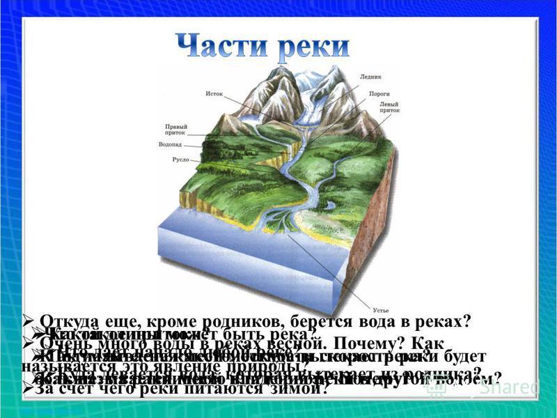 Что дает начало любой реке? Куда девается вода, которая вытекает из родника? Какой длины может быть река? Подумайте, на какой местности скорость реки будет больше: на равнинной или горной? Почему? Что такое притоки? К ак называется место, откуда выте