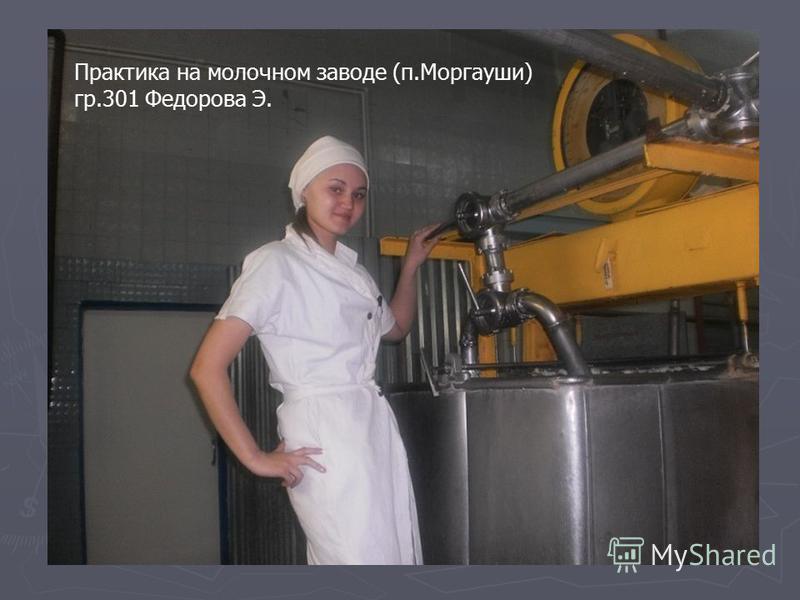 Практика на молочном заводе (п.Моргауши) гр.301 Федорова Э.